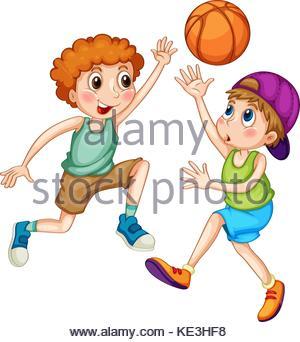 300x342 Two Boys Playing Basketball Illustration Stock Vector Art