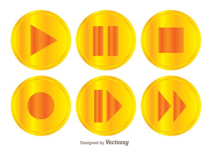 700x490 Golden Play Button Set