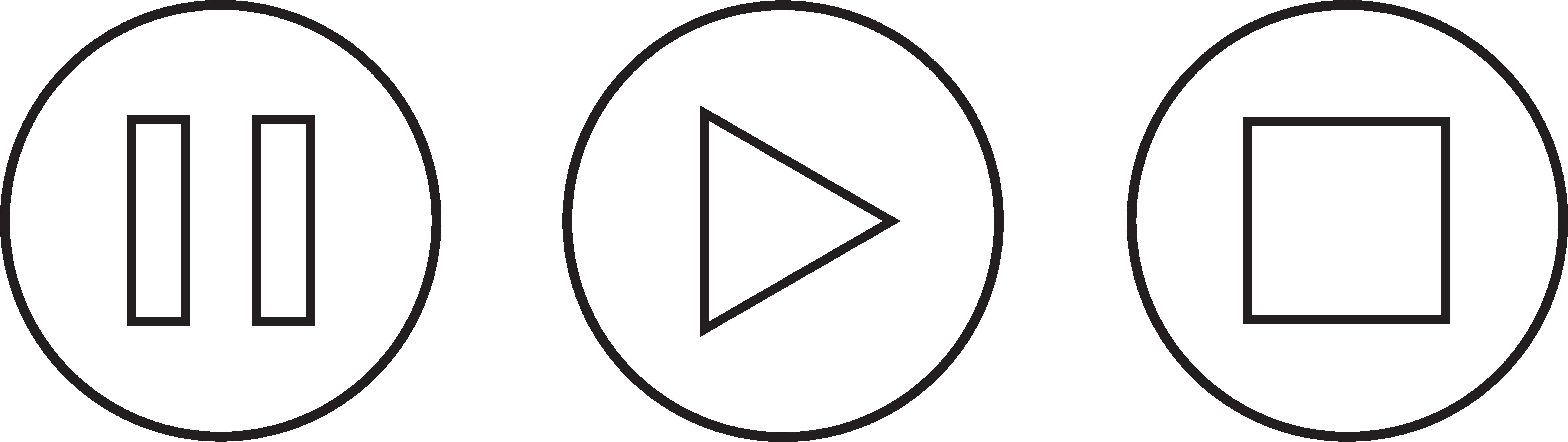 7357x2073 Audio Clipart Pause Button
