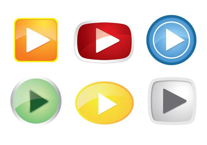 700x490 Colorful Play Button Icon Vectors
