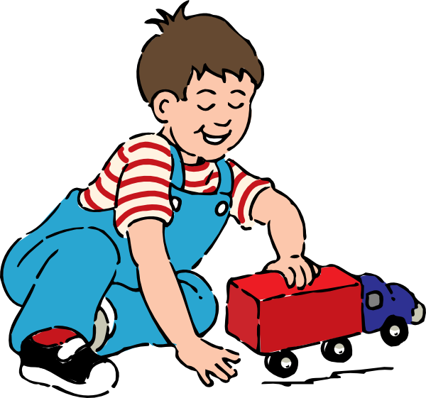 600x561 Boy Playing With Toy Truck Clip Art