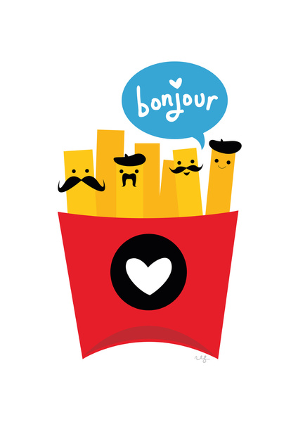 424x600 French Fries Art Print In Kitchen Or By Kid's Play Kitchen Kute