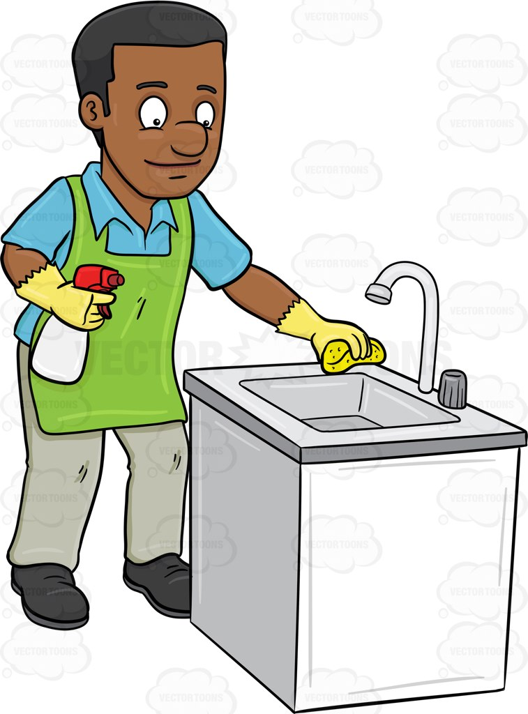 757x1024 A Black Man Polishing The Kitchen Sink Cartoon Clipart