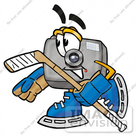 450x450 Clip Art Graphic Of A Flash Camera Cartoon Character Playing Ice