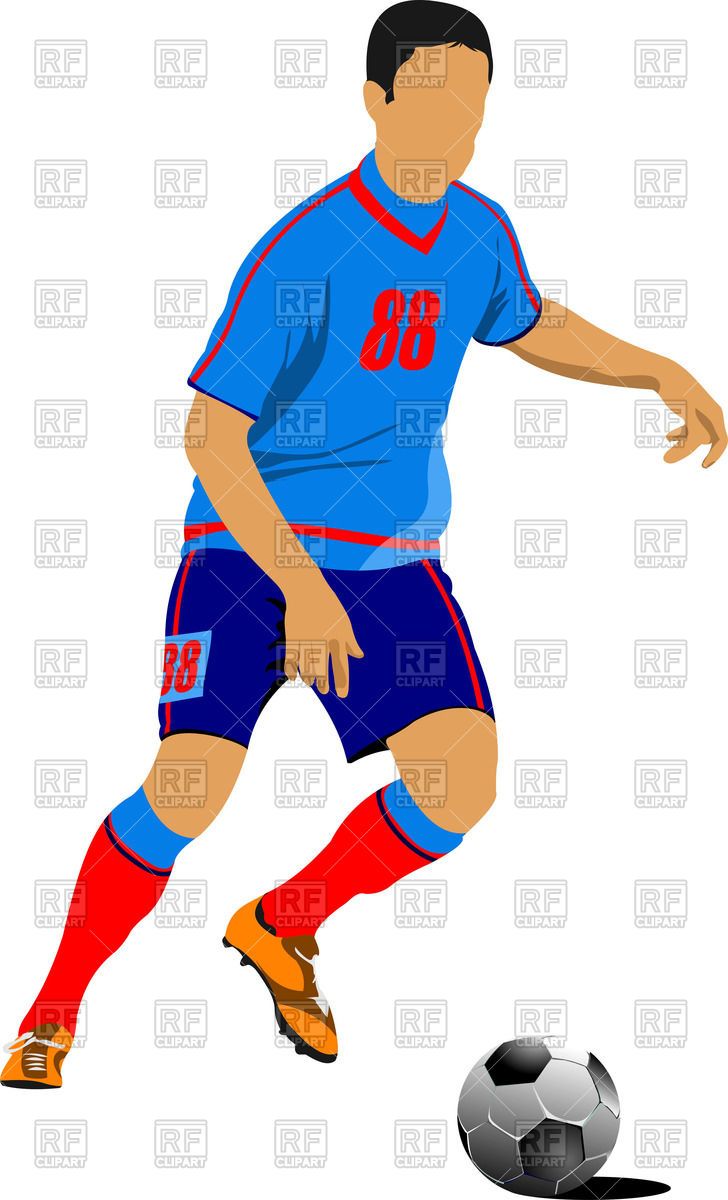 728x1200 Silhouette Of Socer (Football) Player Royalty Free Vector Clip Art