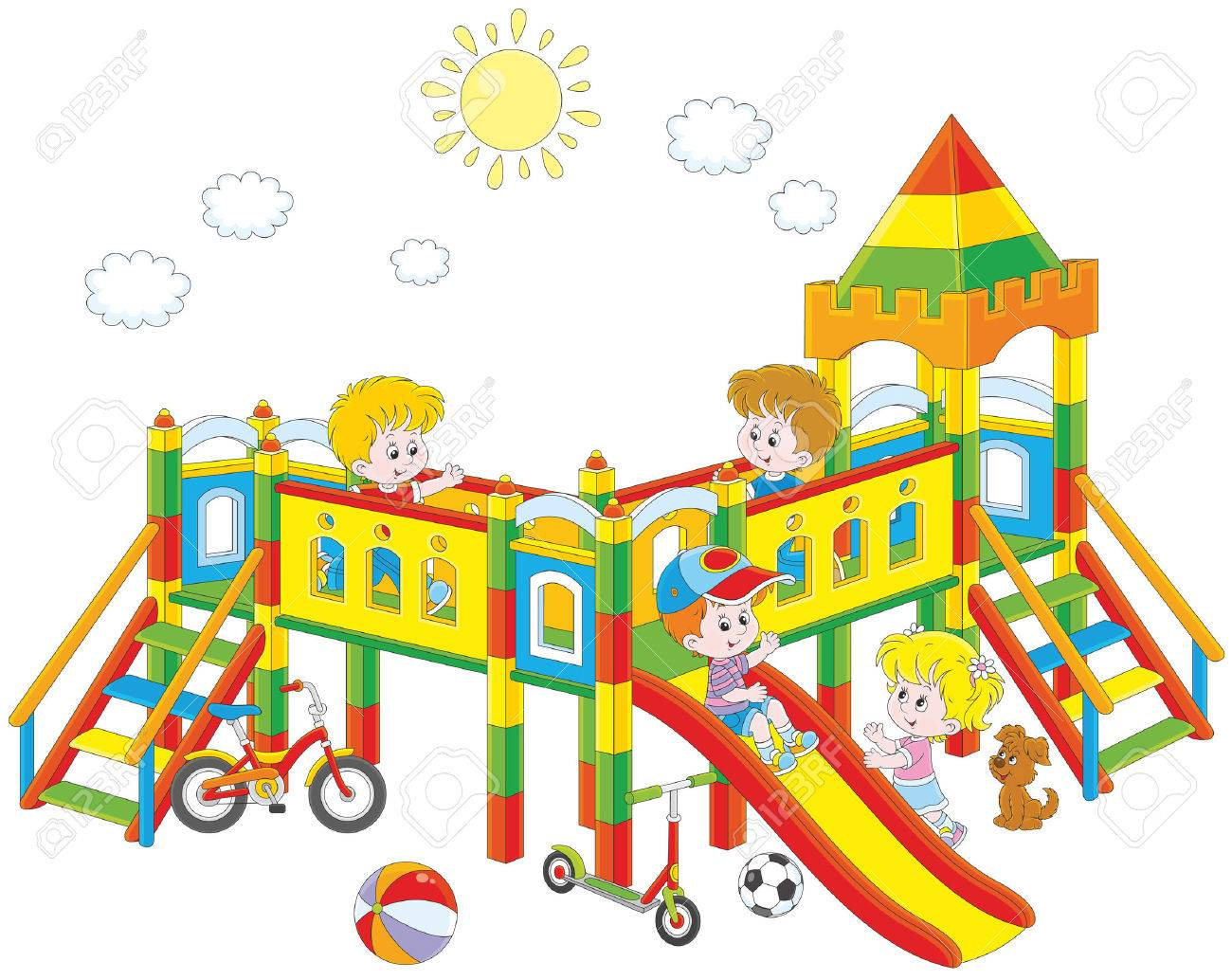 1300x1034 Little Children Playing On A Playground Royalty Free Cliparts