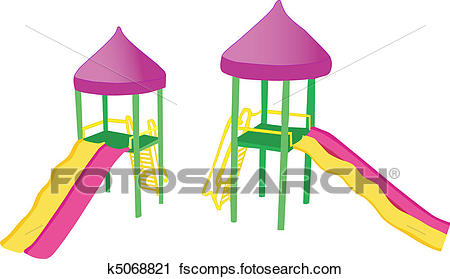 450x279 Clipart Of Two Colorful Playground Slides K5068821