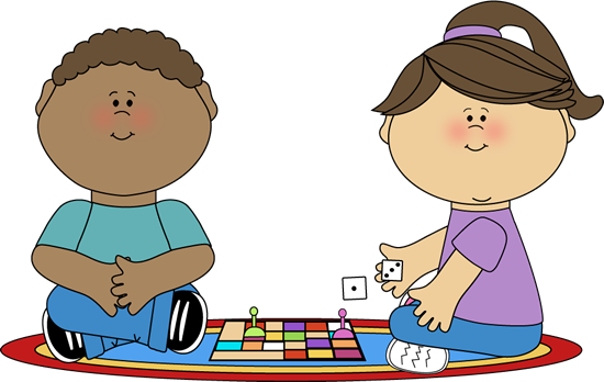 550x348 Kids Playing a Board Game Clip Art