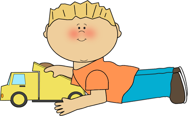 600x371 Boy Playing with Dump Truck Clip Art