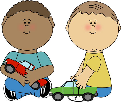 500x421 Boys Playing with Trucks Clip Art