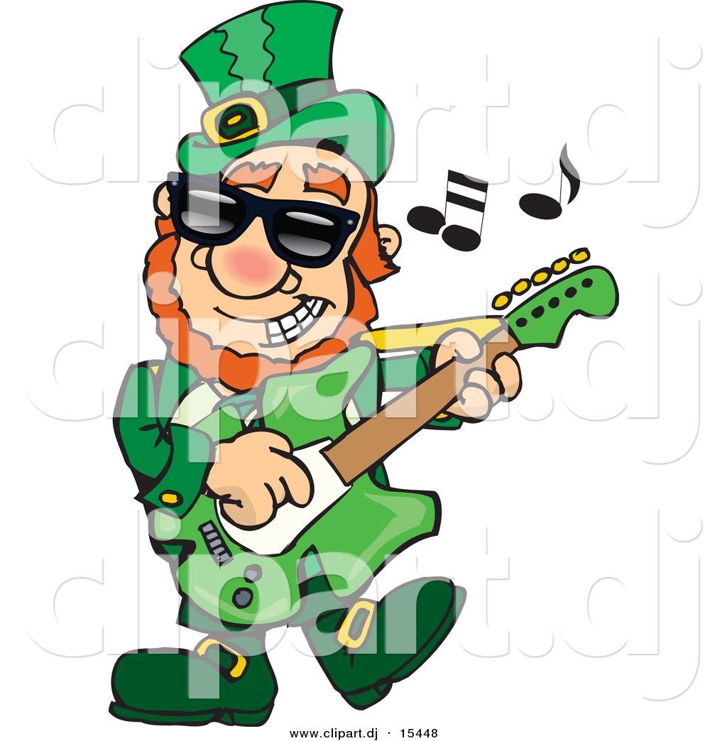 1024x1044 Cartoon Vector Clipart Of St. Patrick's Day Leprechaun Playing