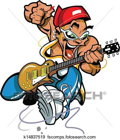 403x470 Clip Art Of Wild Rock Guitar Player K14837519