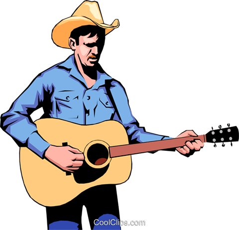 480x462 Cowboy Guitar Player Royalty Free Vector Clip Art Illustration