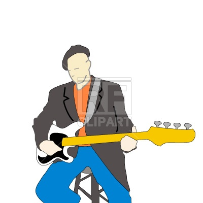 400x400 Musician Plays A Guitar Free Vector Clip Art Image