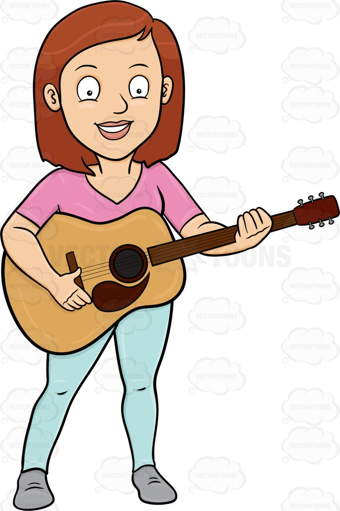 683x1024 A Cheerful Woman Playing A Classic Guitar Cartoon Clipart