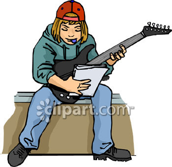 350x340 Teenage Boy Playing Electric Guitar