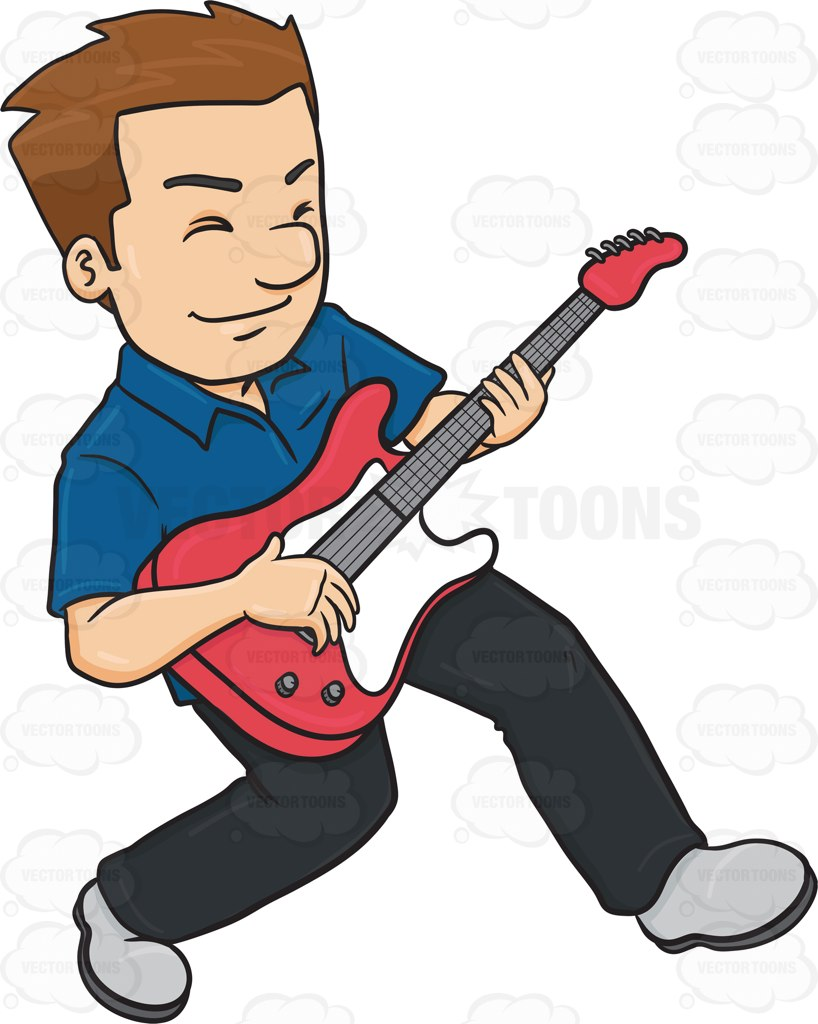 818x1024 A Man Enjoying His Guitar Solo Guitar Solo And Vector Clipart