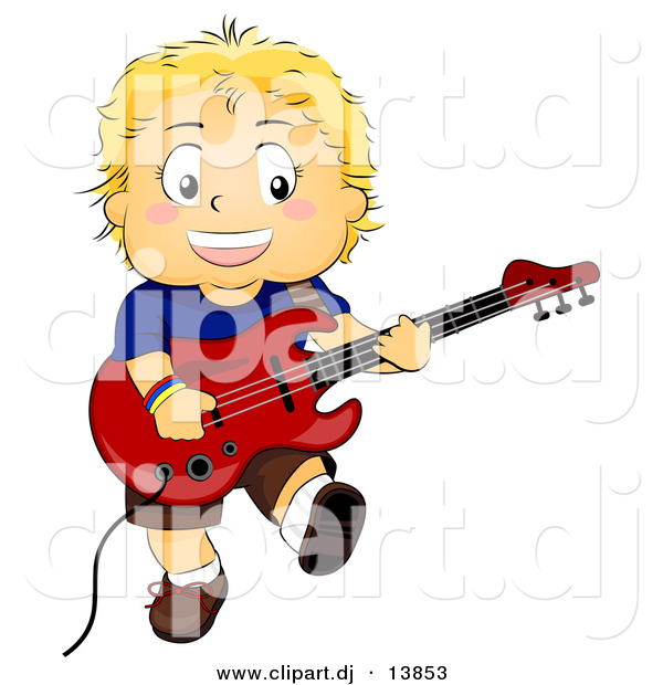 600x620 Cartoon Vector Clipart Of A Smiling Boy Playing Electric Guitar By
