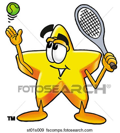 421x470 Clip Art Of Star Playing Tennis St01s009