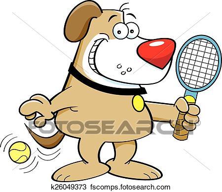 450x389 Clipart Of Cartoon Dog Playing Tennis K26049373