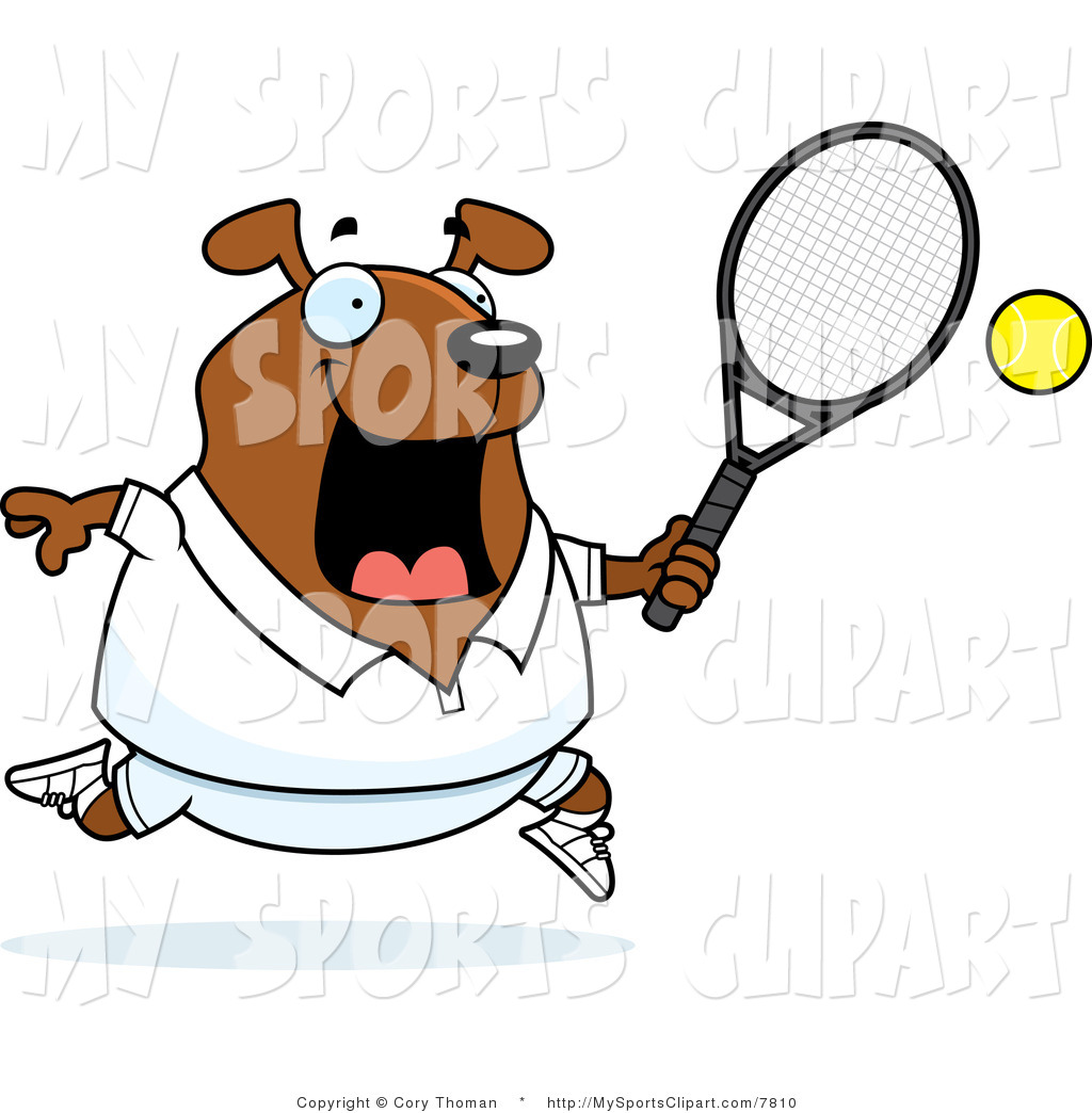 1024x1044 Sports Clip Art Of A Dog Playing Tennis In White By Cory Thoman