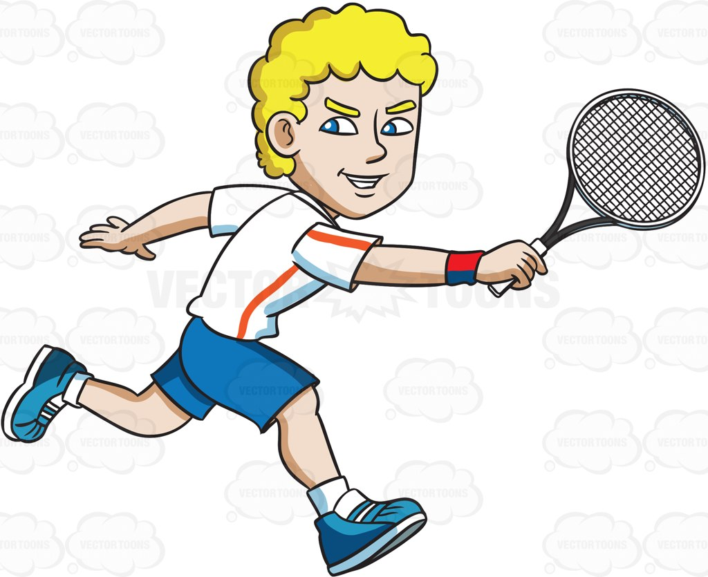 1024x835 A Tennis Player Trying To Hit The Ball With A Backhand Cartoon