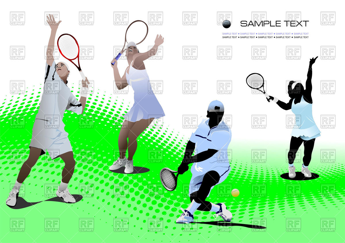 1200x847 Tennis Players On Tennis Court Royalty Free Vector Clip Art Image