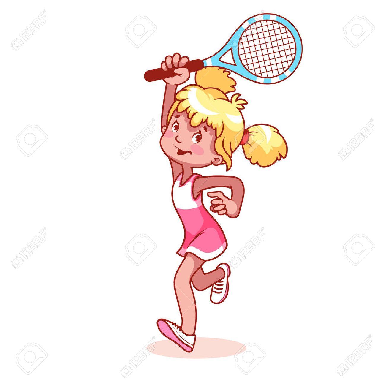 1300x1300 Cartoon Girl Playing Tennis. Clip Art Illustration On A White