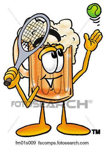 338x470 Clip Art Of Beer Mug Playing Tennis Fm01s009