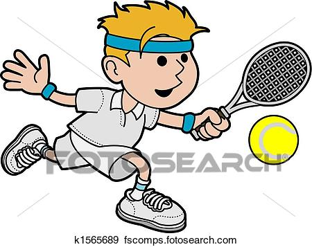 450x357 Clip Art Of Illustration Of Male Tennis Player K1565689