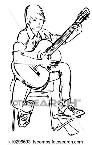 Playing The Guitar Clipart