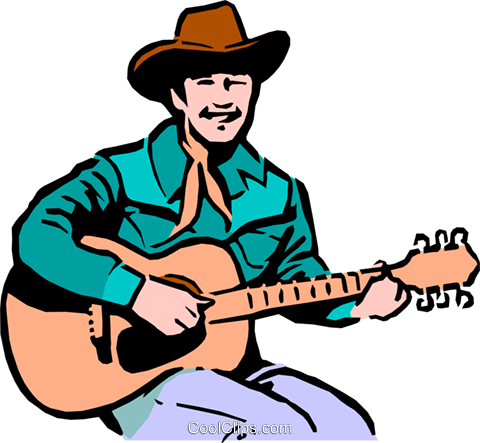 480x443 Cowboy Playing The Guitar Royalty Free Vector Clip Art