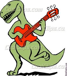 266x300 Dinosaur Playing The Guitar Vector Clip Art