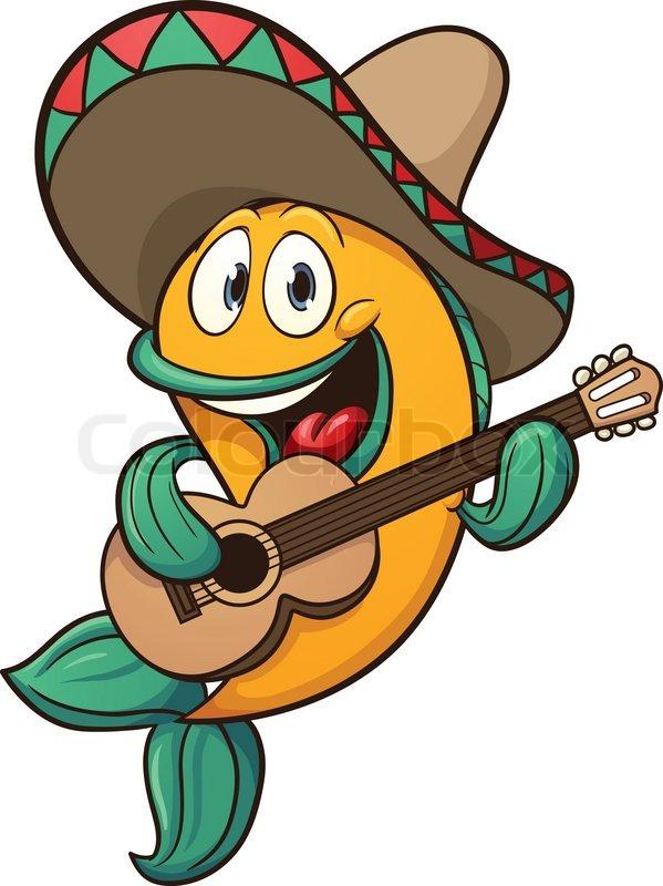 599x800 Mariachi Fish Singing With Guitar. Vector Clip Art Illustration