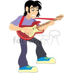 300x300 Royalty Free Cartoon Rocker Playing The Guitar 393661 Vector Clip