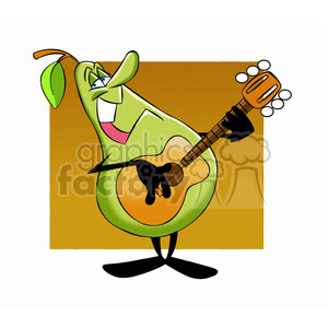 300x300 Royalty Free Paul The Cartoon Pear Character Playing The Guitar