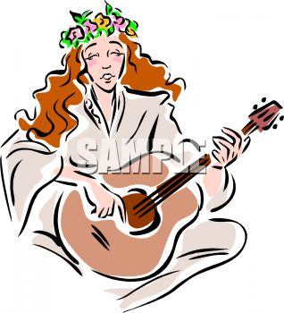 318x350 Woman With Flowers In Her Hair Playing The Guitar