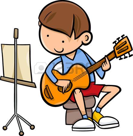 440x450 Cartoon Illustration Of Cute Boy Playing On The Guitar Royalty
