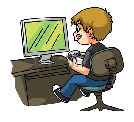 Playing Video Games Clipart
