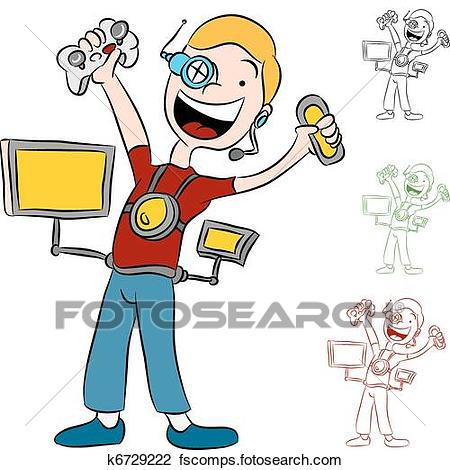 450x470 Clipart Of Computer Video Game Addict Kid K6729222