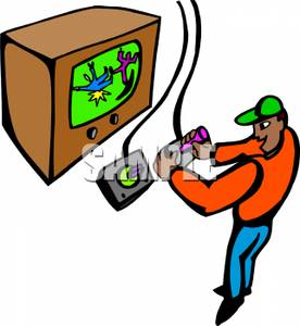 276x300 Free Clipart Image A Boy Playing Video Games On An Old Tv