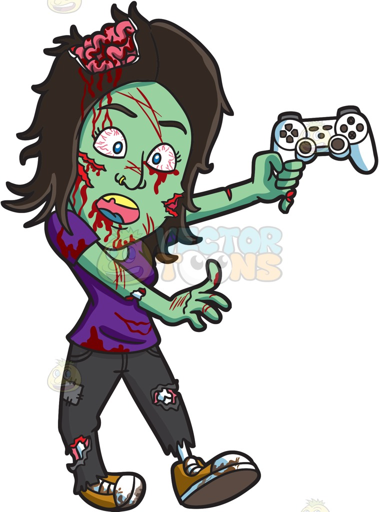 758x1024 A Zombie Playing A Video Game Gray Pants