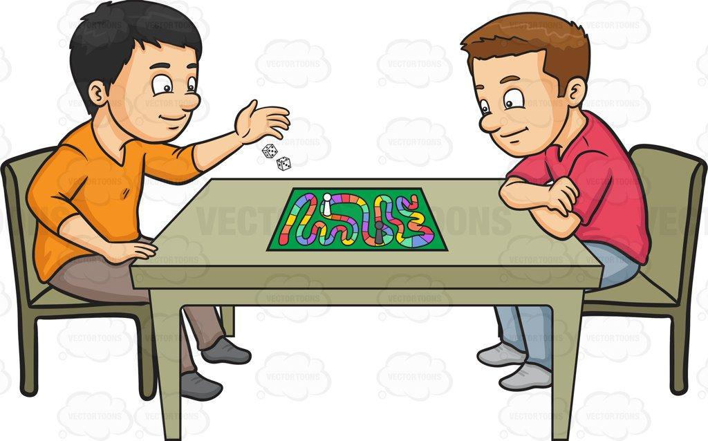1024x638 Two Friends Playing A Board Game Cartoon Clipart