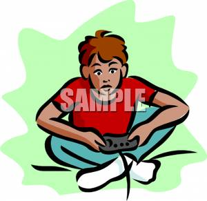 300x291 Boy Intently Playing Video Games Clipart Image