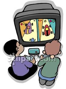 225x300 Boys Playing A Video Game Royalty Free Clipart Picture