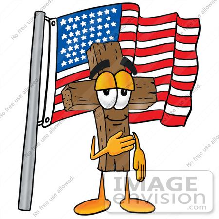 450x450 Clip Art Graphic Of A Wooden Cross Cartoon Character Pledging