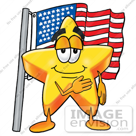 450x450 Clip Art Graphic Of A Yellow Star Cartoon Character Pledging