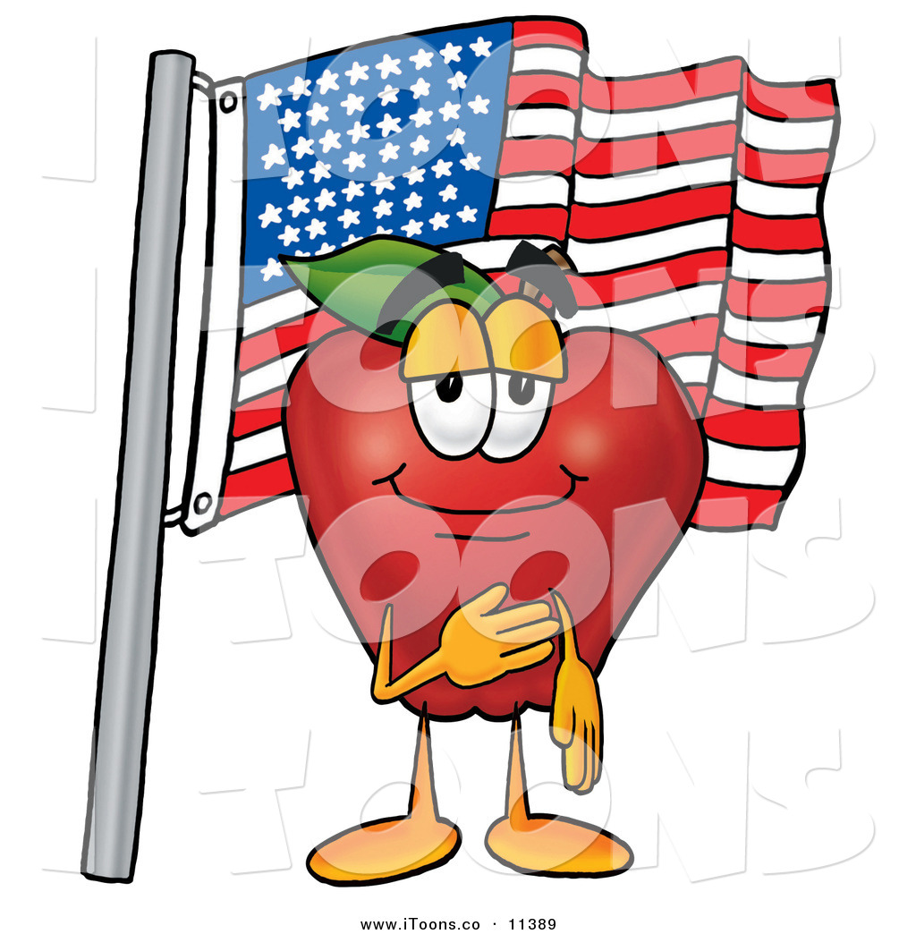 1024x1044 Clip Art Of A Happy Red Apple Character Mascot Giving The Pledge