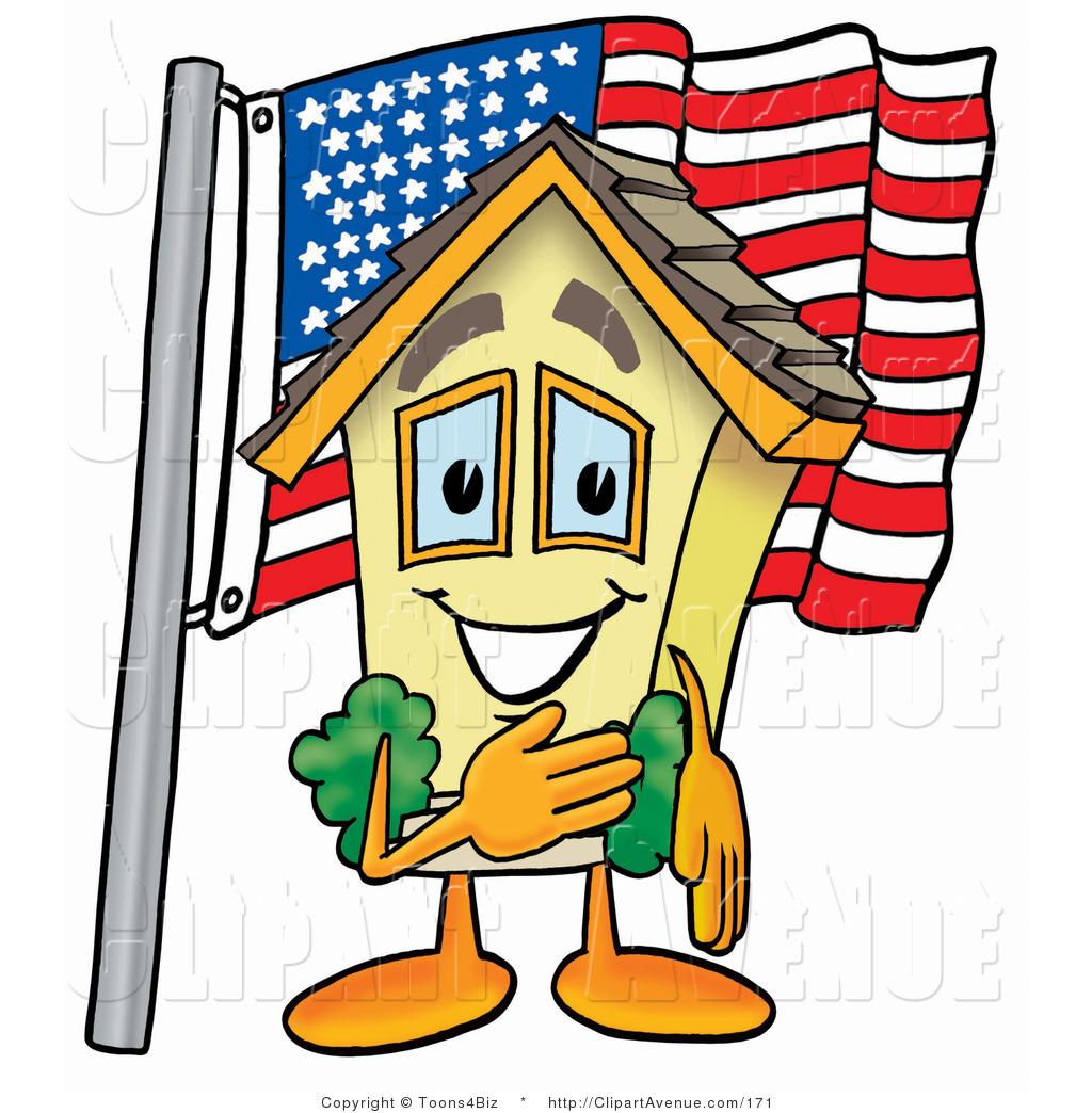 1024x1044 Avenue Clipart Of A Patriotic Yellow House Mascot Cartoon