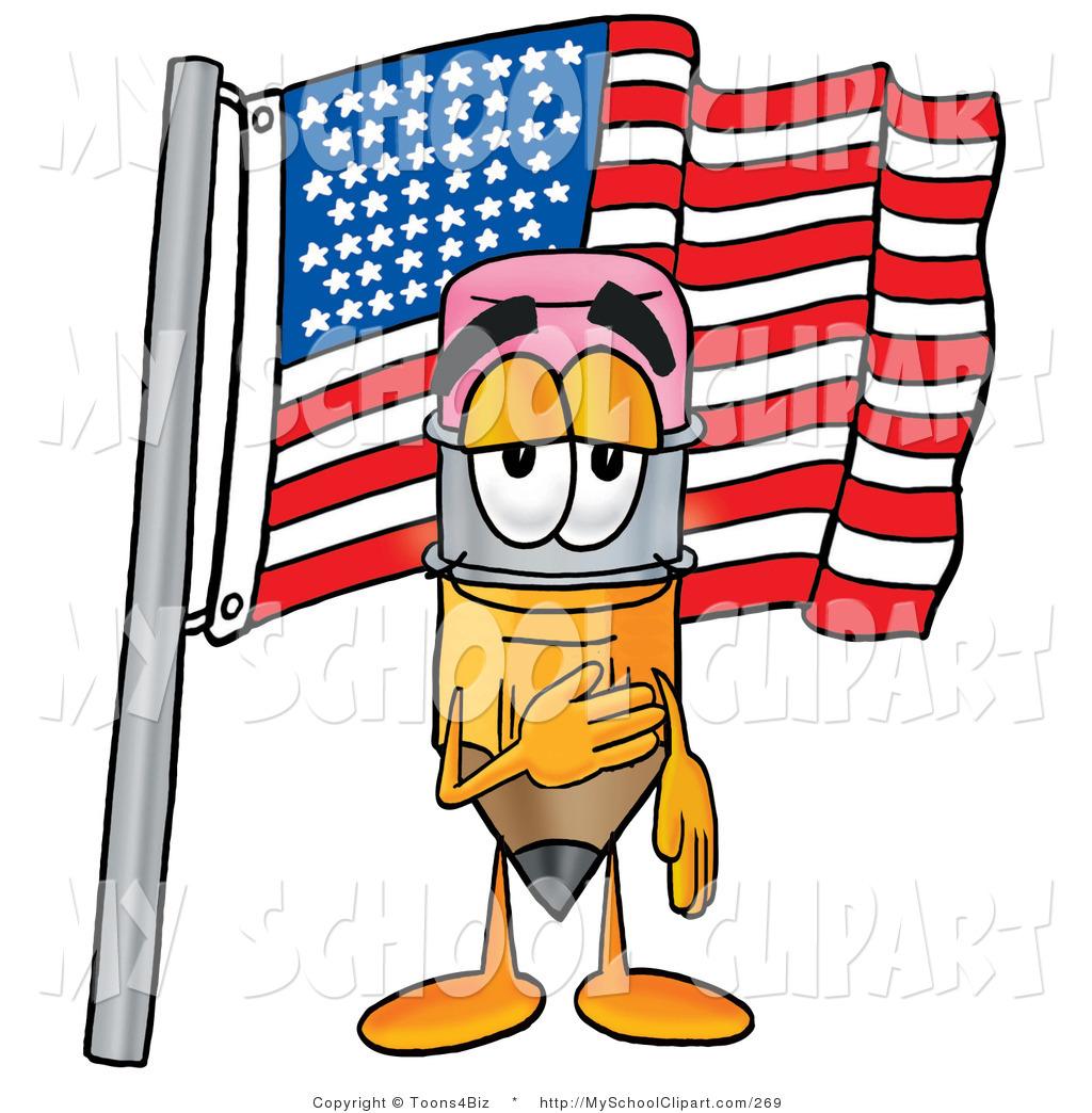 1024x1044 Clip Art Of A Patriotic Yellow Pencil Mascot Cartoon Character